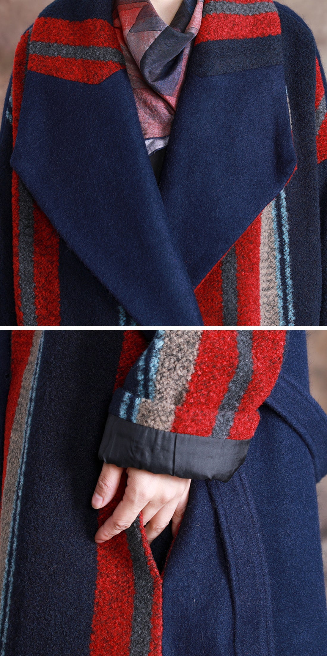Ladylike Lately Belted Woolen Collared Coat Details 1
