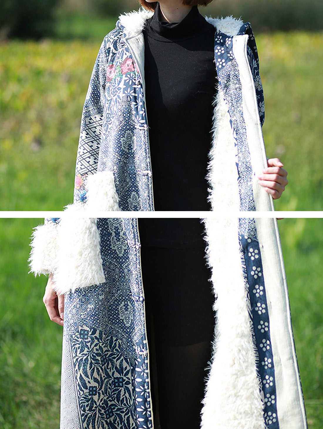 Thickened Coat with Fluffy Pocket Details