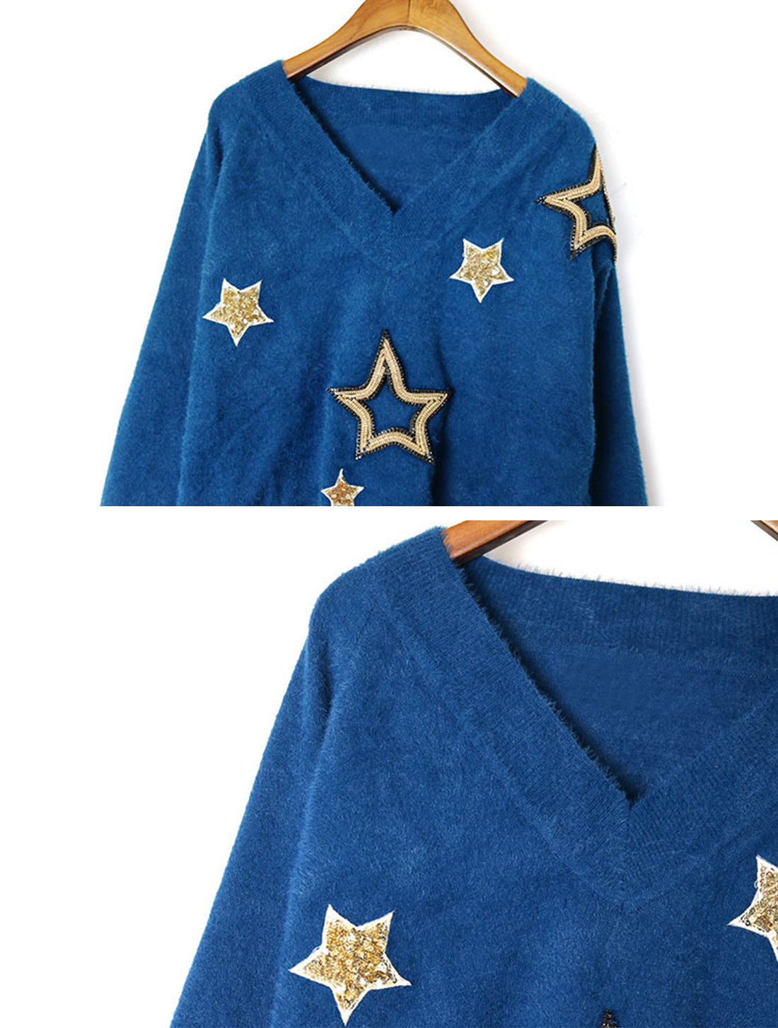 Obviously Edgy Star Embroidered Sweater Top Details 1