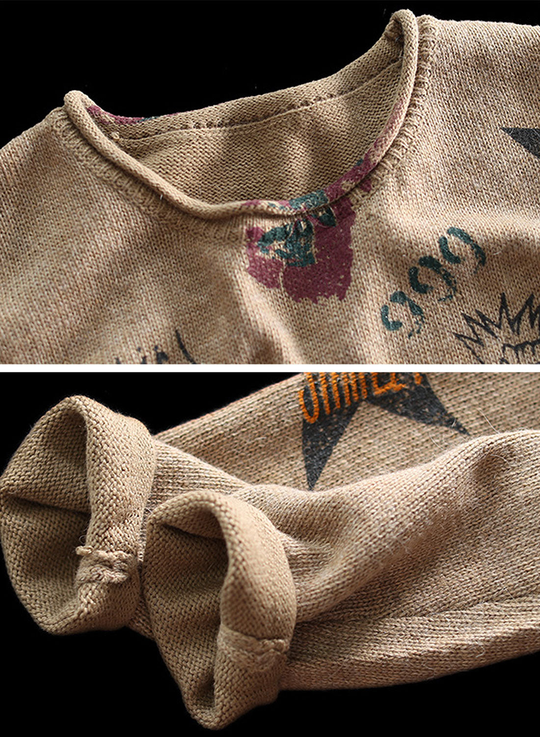 Star Words Printed Cotton Sweater Details 1
