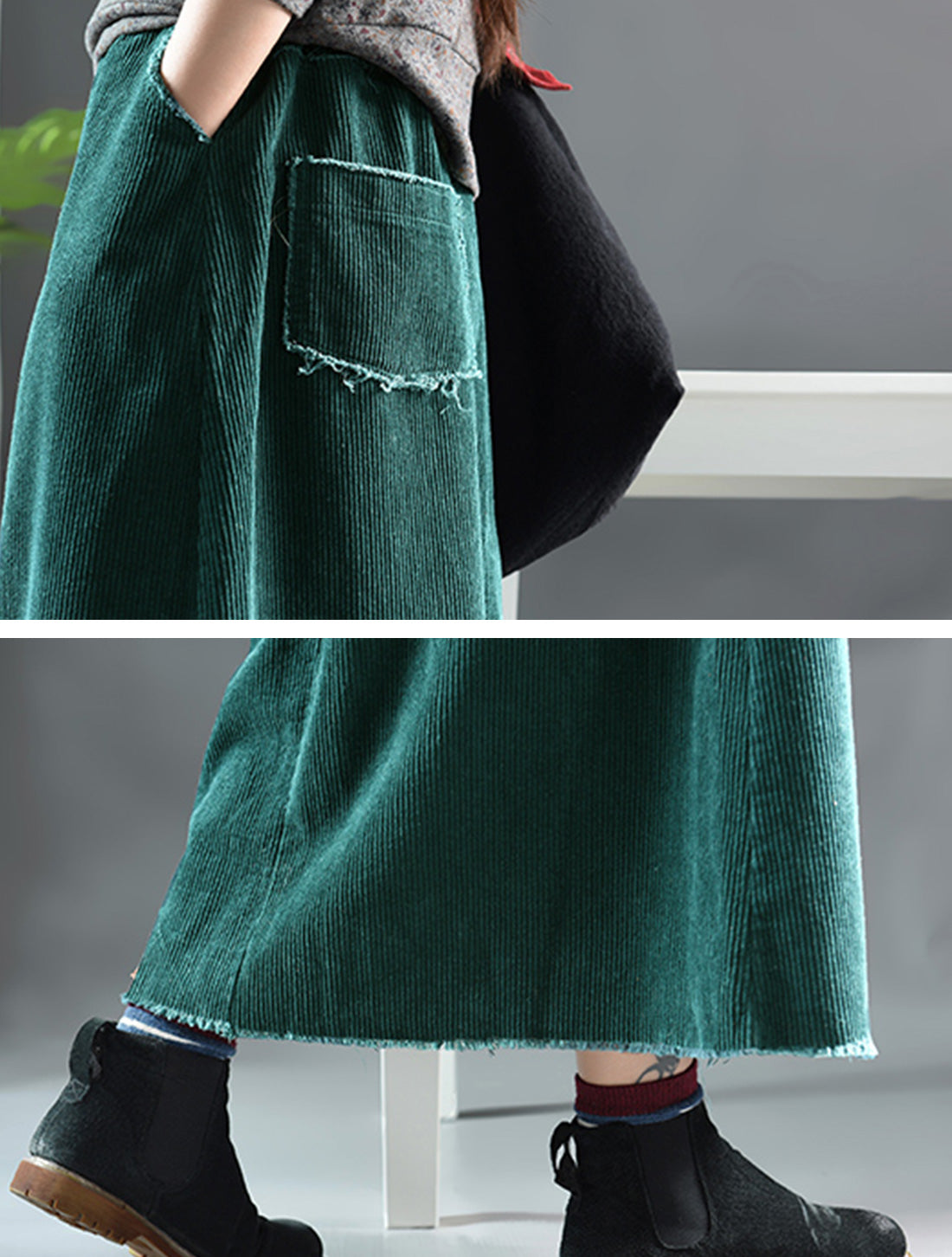 Simple Thickened Corduroy Skirt Details 1
