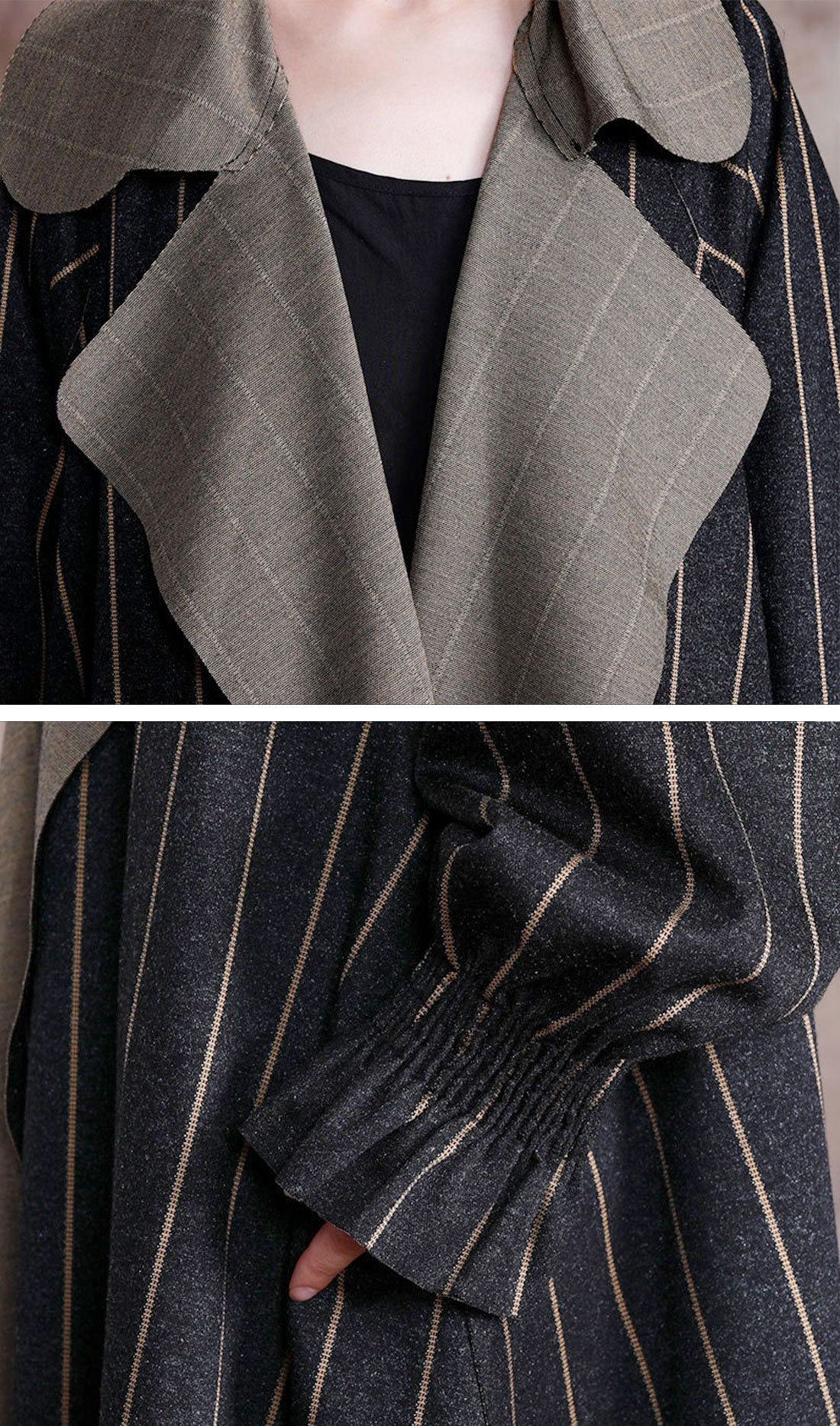 Stripe Print Thickened Long Coat Details 1
