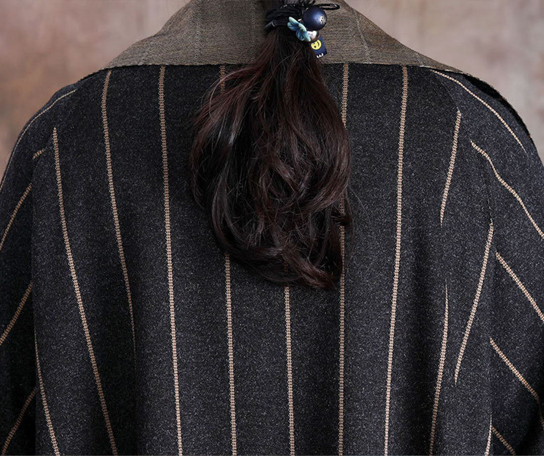 Stripe Print Thickened Long Coat Details 2