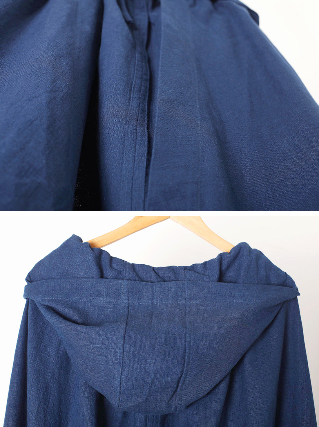 Solid Color Hooded Linen Cape Coat Details 2