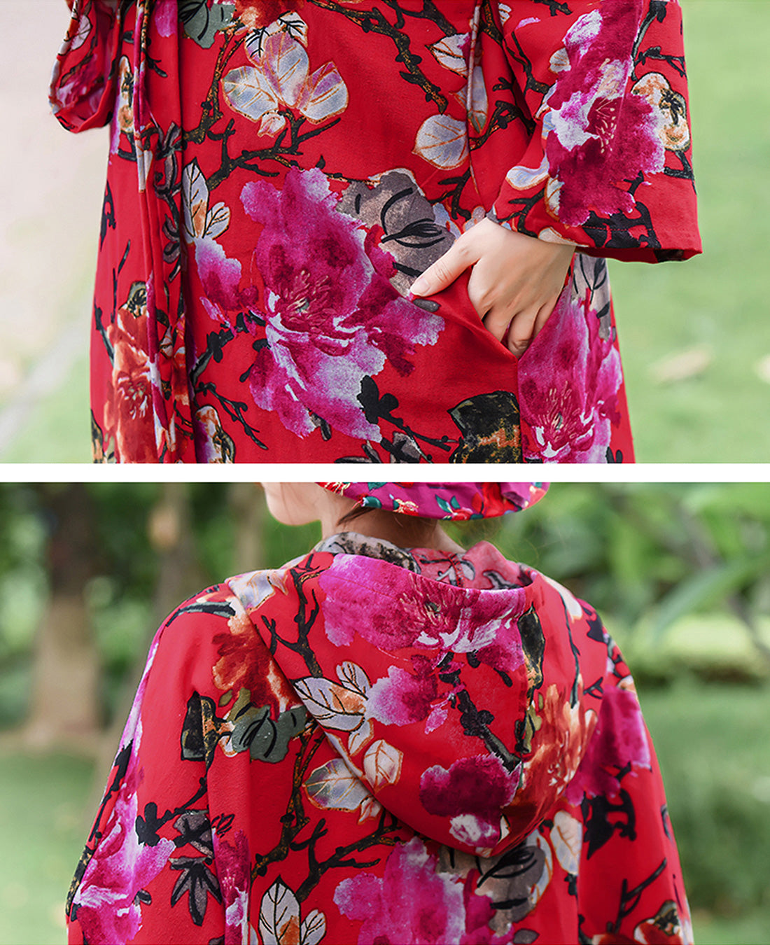 Floral Printed Hooded Red Cape Coat Details 2