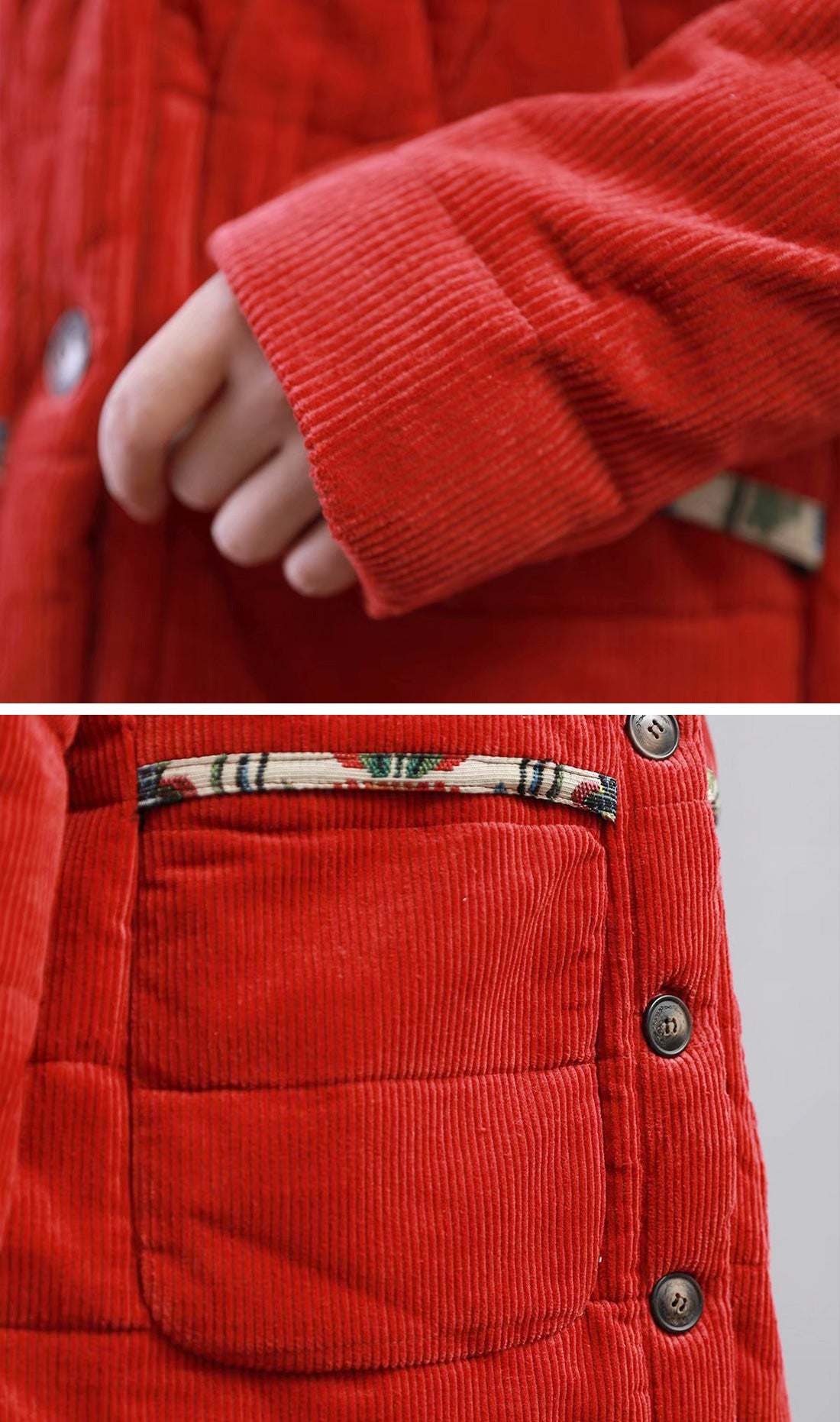 Bad At Love Padded Cotton & Curduroy Coat Details 2