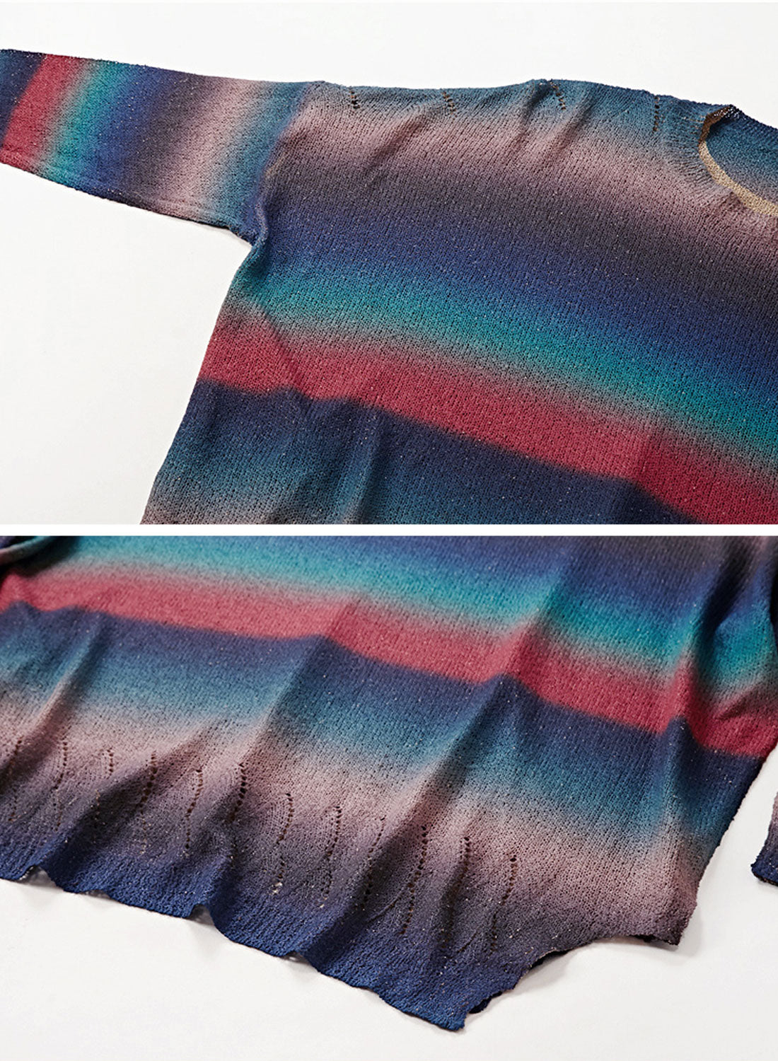 Color Block Printed Striped Sweater Details 2