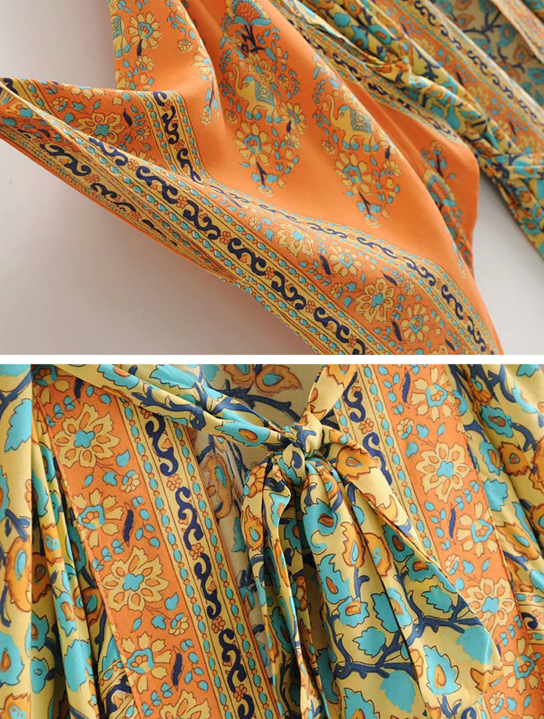 No Rush Orange Kimono Robe Details 2