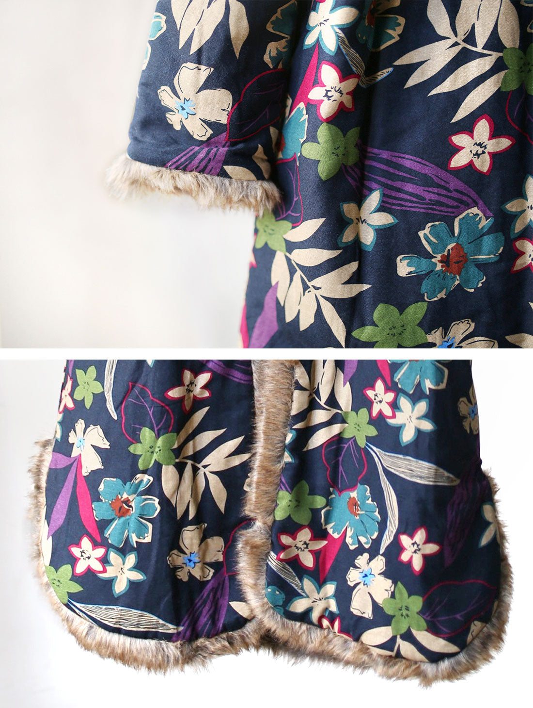 Floral Printed Hooded Cotton Coat Details 2
