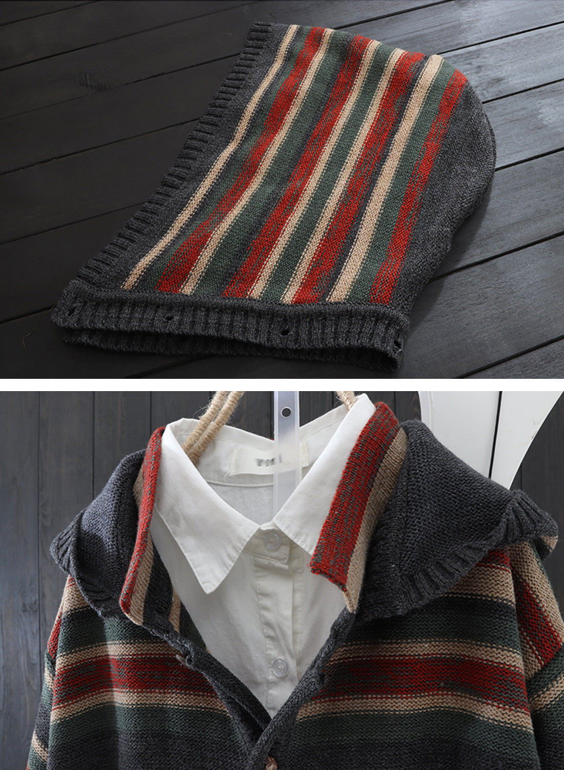 Striped Hooded Cardigan with Pockets Details 2