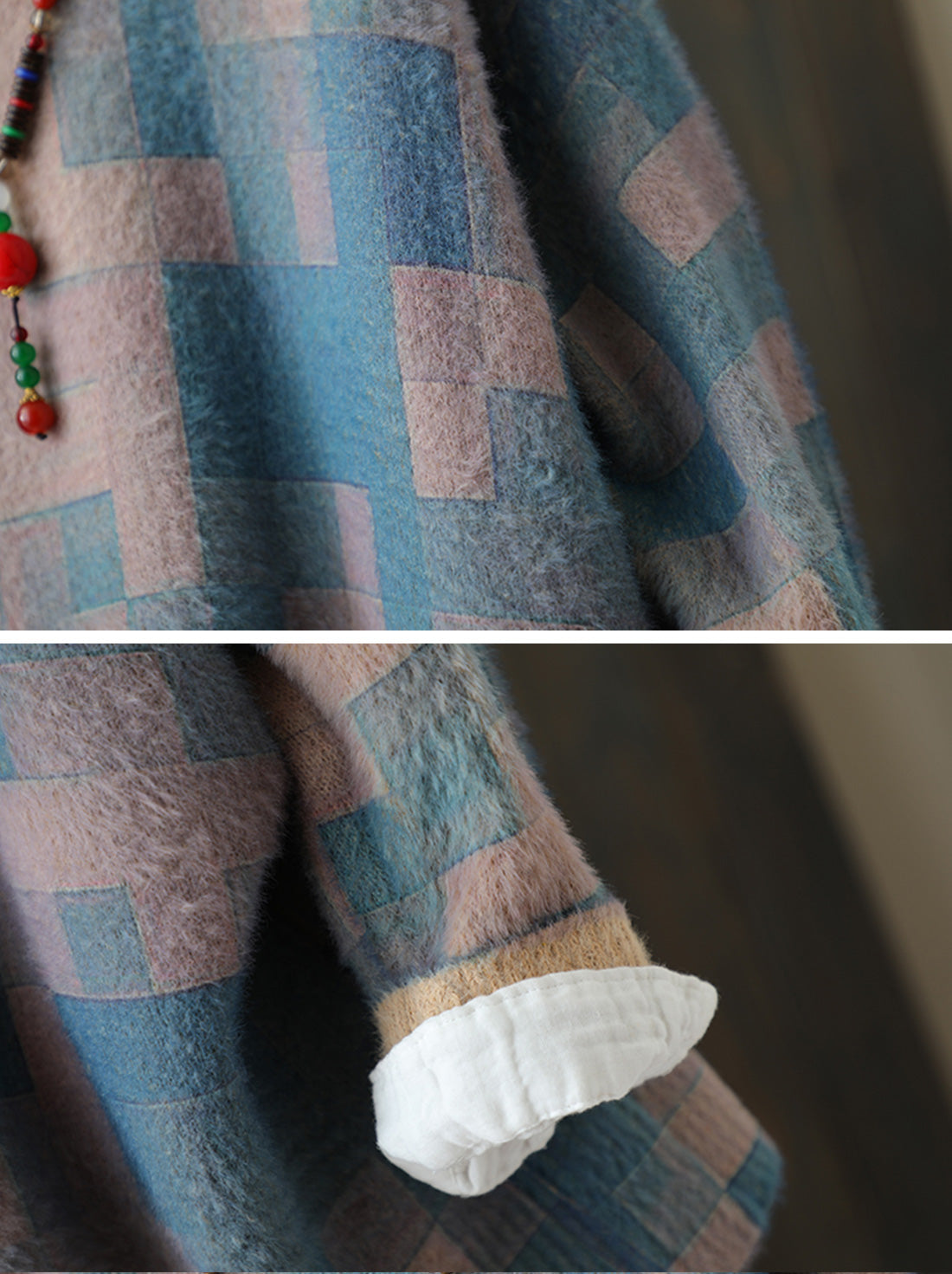 Color Block Lattice Cotton Sweater Details 2