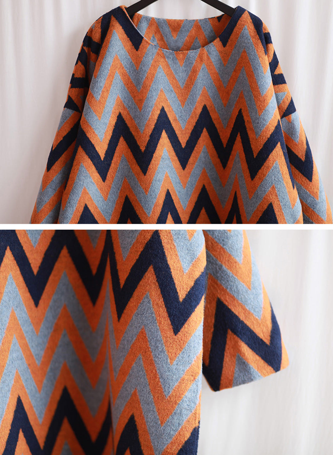 Seein' Zig-Zag Stripes Woolen Maxi Dress Details 2