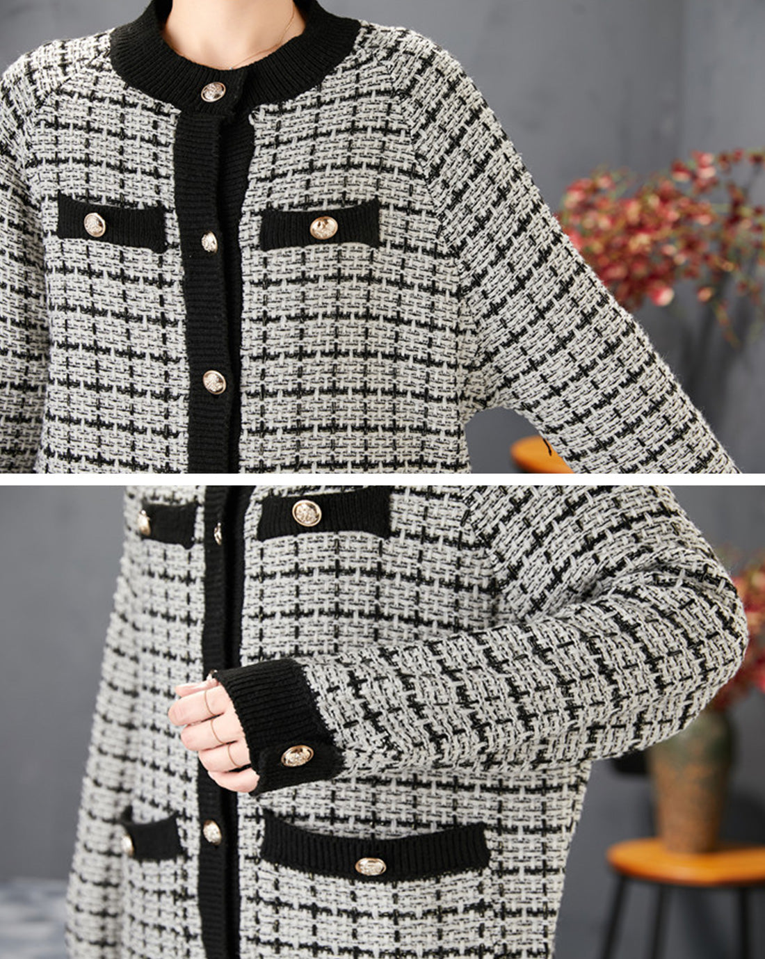 Excellent Example Textured Cardigan Sweater Details  2