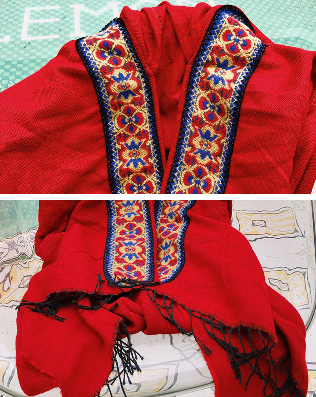 Splicing Red Shawl Cardigan with Hooded Details 2