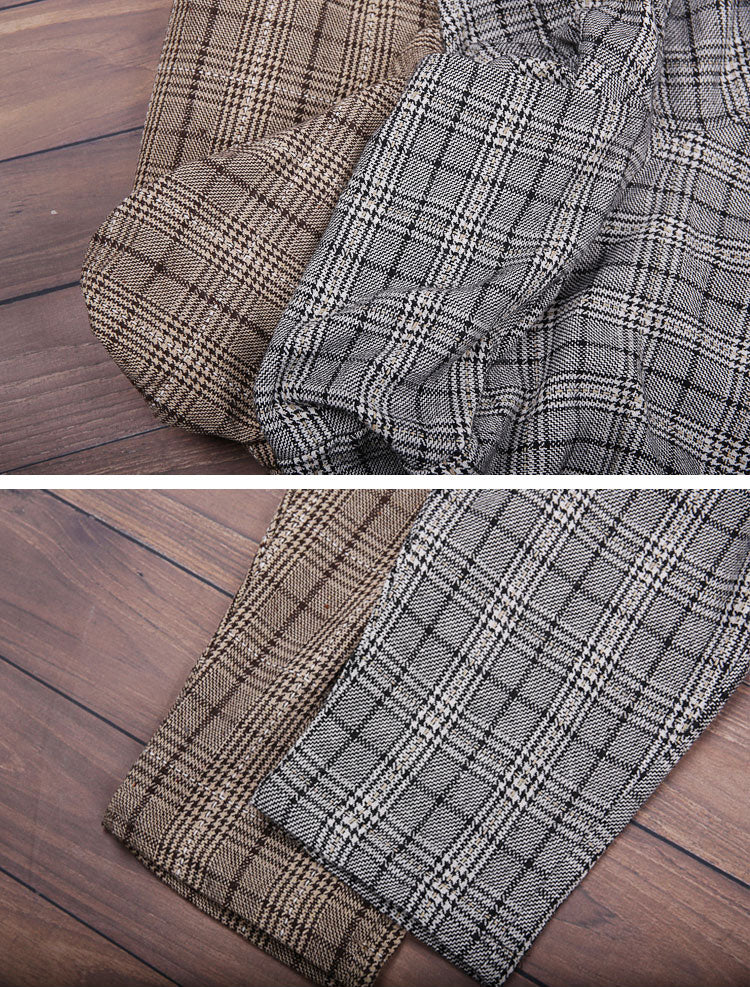 Splicing Plaids Cotton Harem Pants Details 2