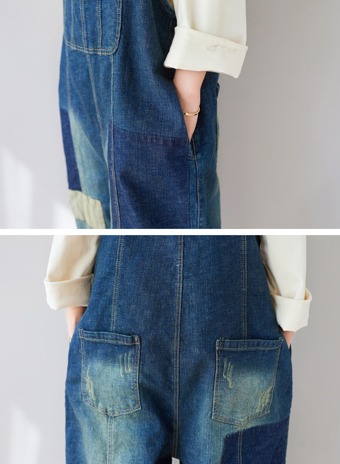 The Kellianne Patched Denim Overalls Dungarees Details 2