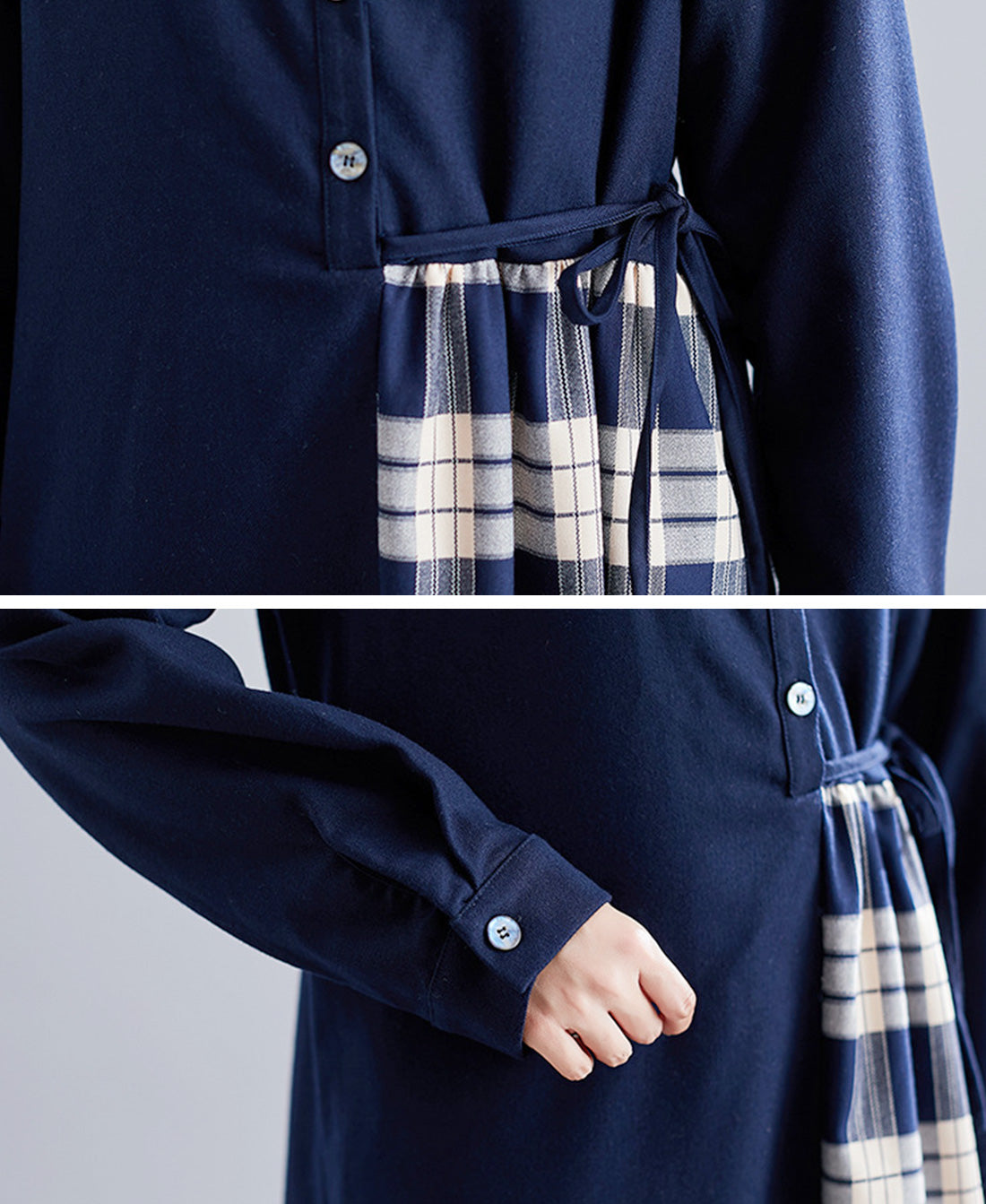 Be My Guest Plaid Border Cotton Midi Dress Details 2