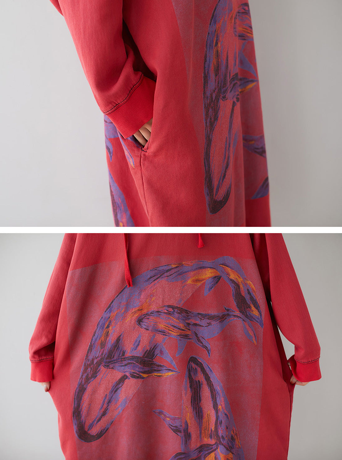 Loose Ethnic Floral Hooded Sweatsirt Dress Details 2