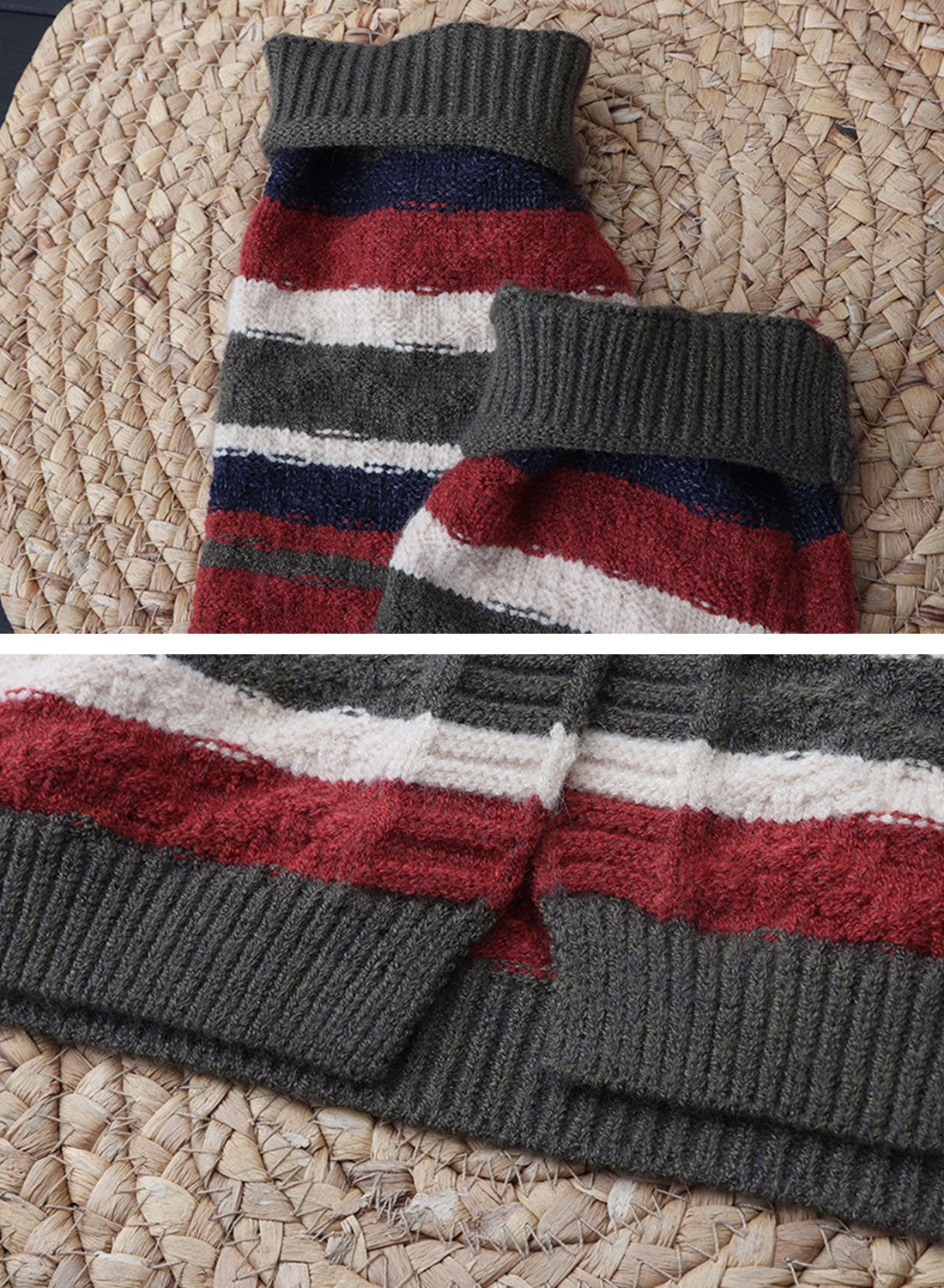 Color Block Striped Long Cardigan Sweater Details 2