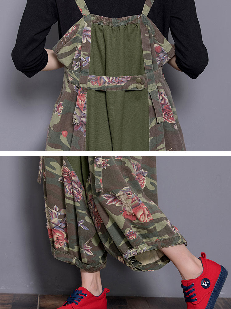 Rare Rose Hippie Army Green Overalls Dungarees Details 2
