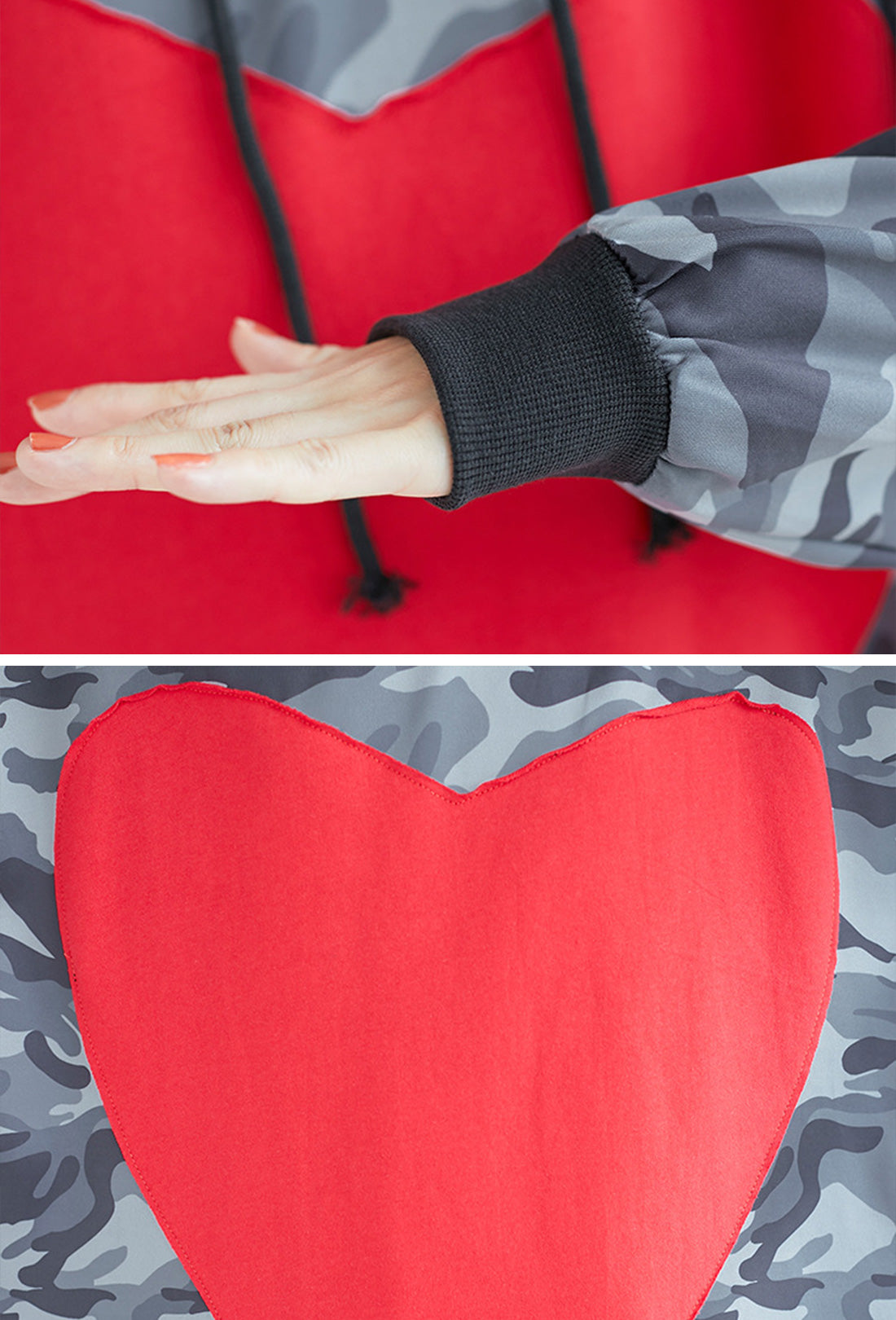 Heart Camouflage Sweatshirt Hooded Dress Details 2