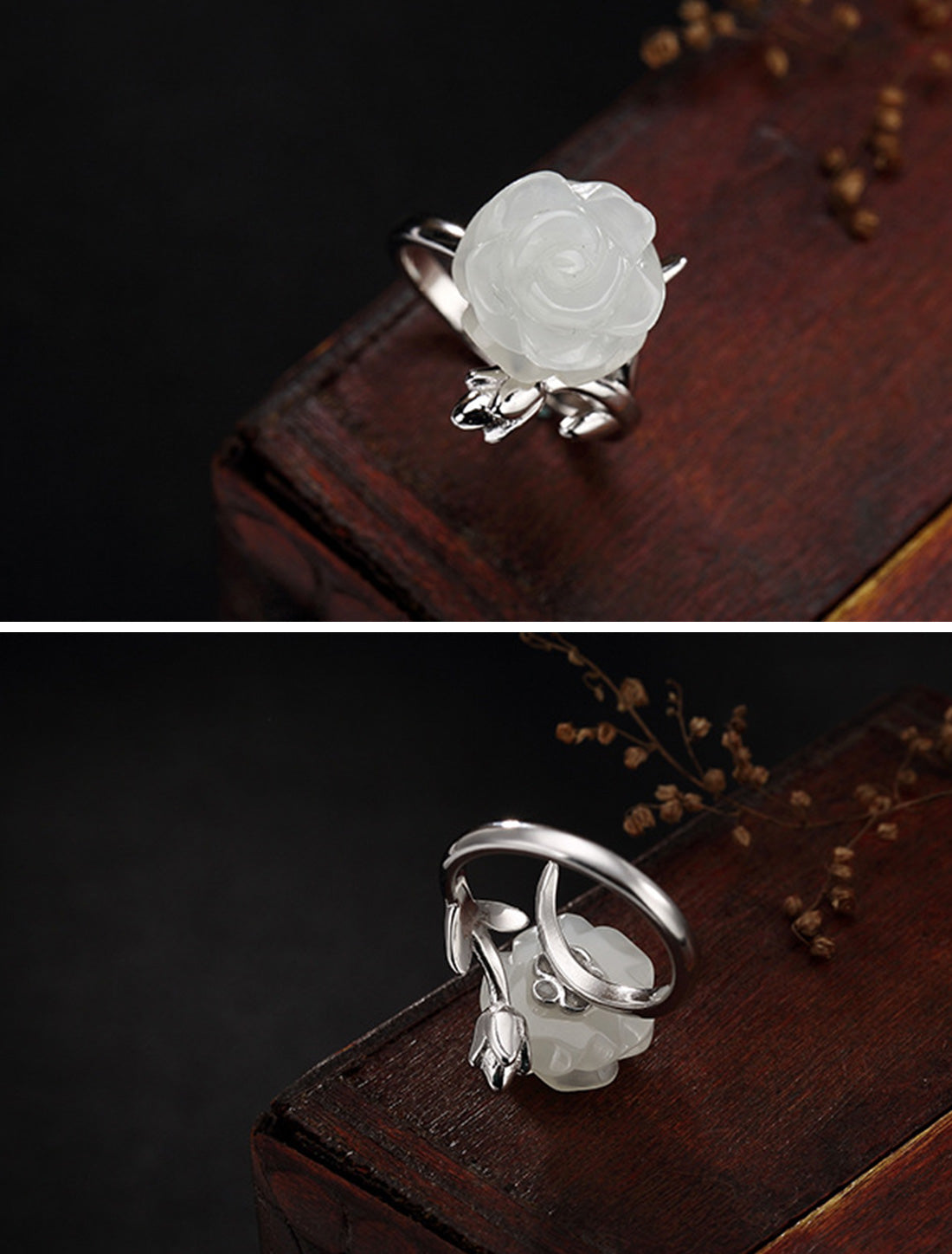 You Stun Me White Flower Rings Details 2