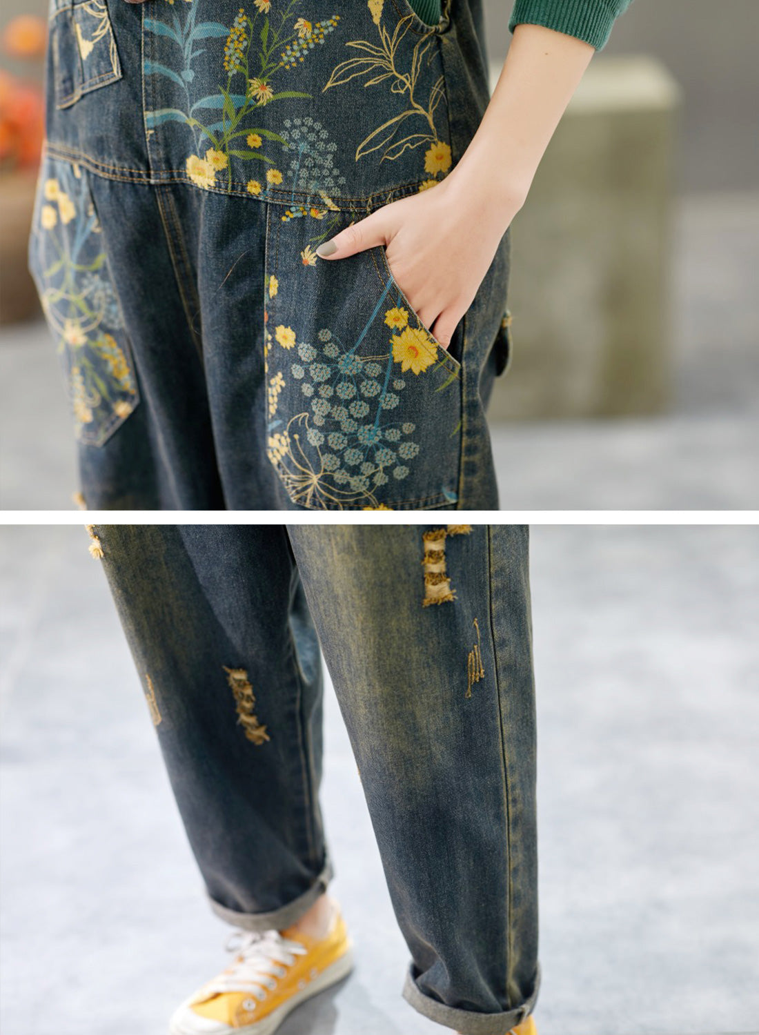 Theodosia Denim Ripped Overalls Dungarees Details 2