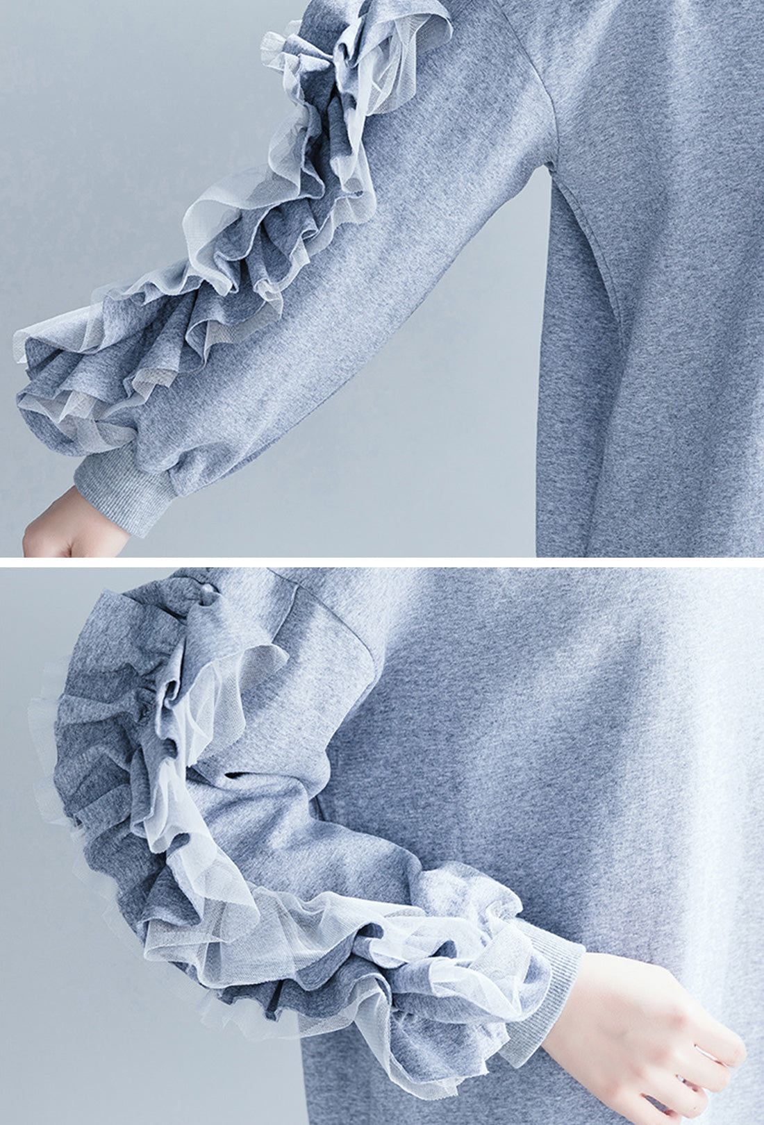 Valari Ruffled-Sleeve Sweatshirt Dress Details 2