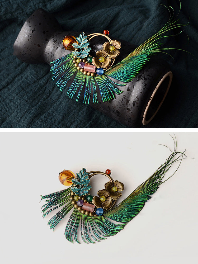 Peacock Bird Brooch Details 2