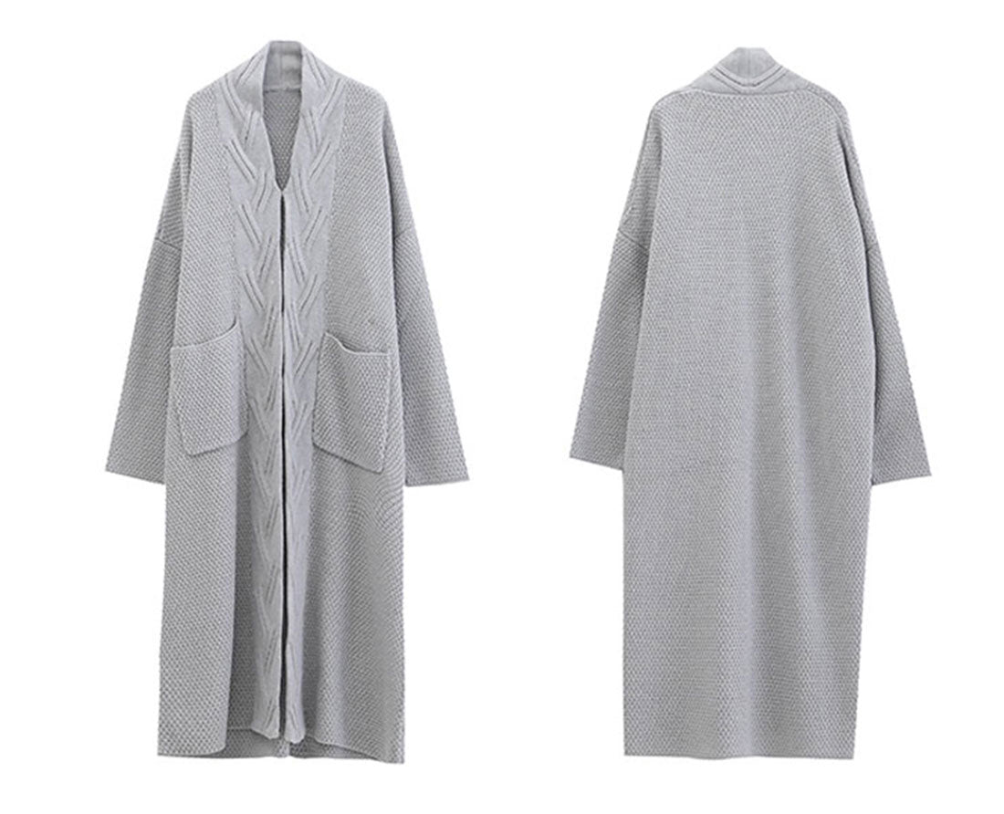 Diamond Long Cardigan Sweater with Pocket Details 2
