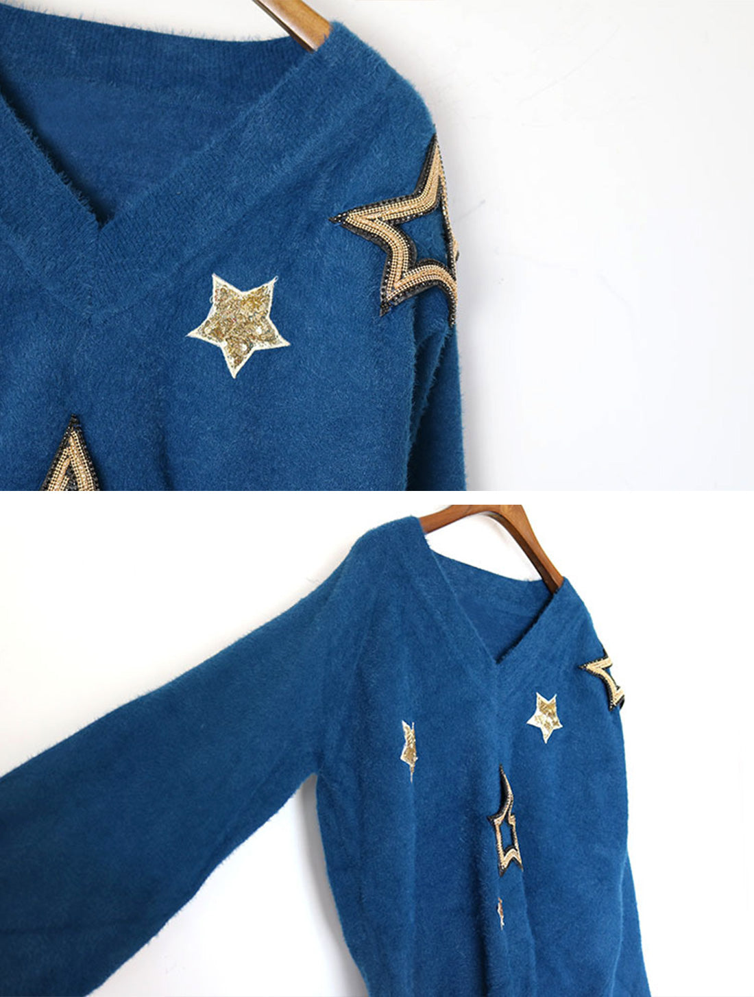 Obviously Edgy Star Embroidered Sweater Top Details 2