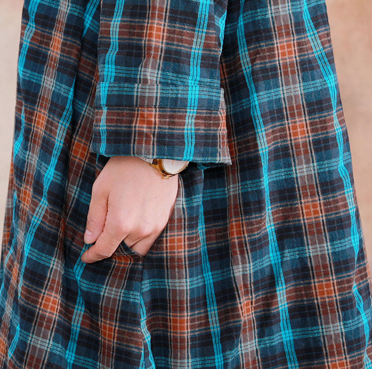 Savored Rays Plaid Midi Dress Details 2