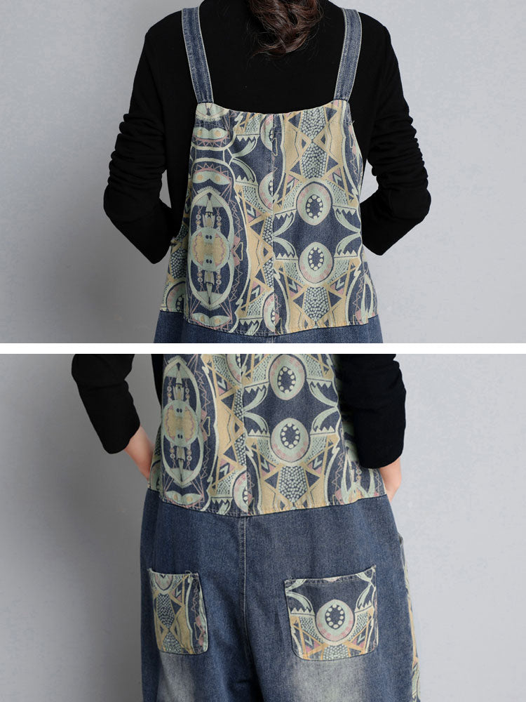 Hippie Denim Overalls Dungarees with Prints Details 2