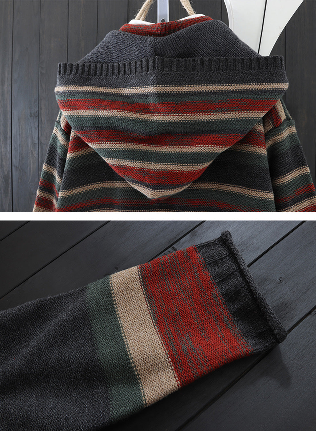 Striped Hooded Cardigan with Pockets Details 3