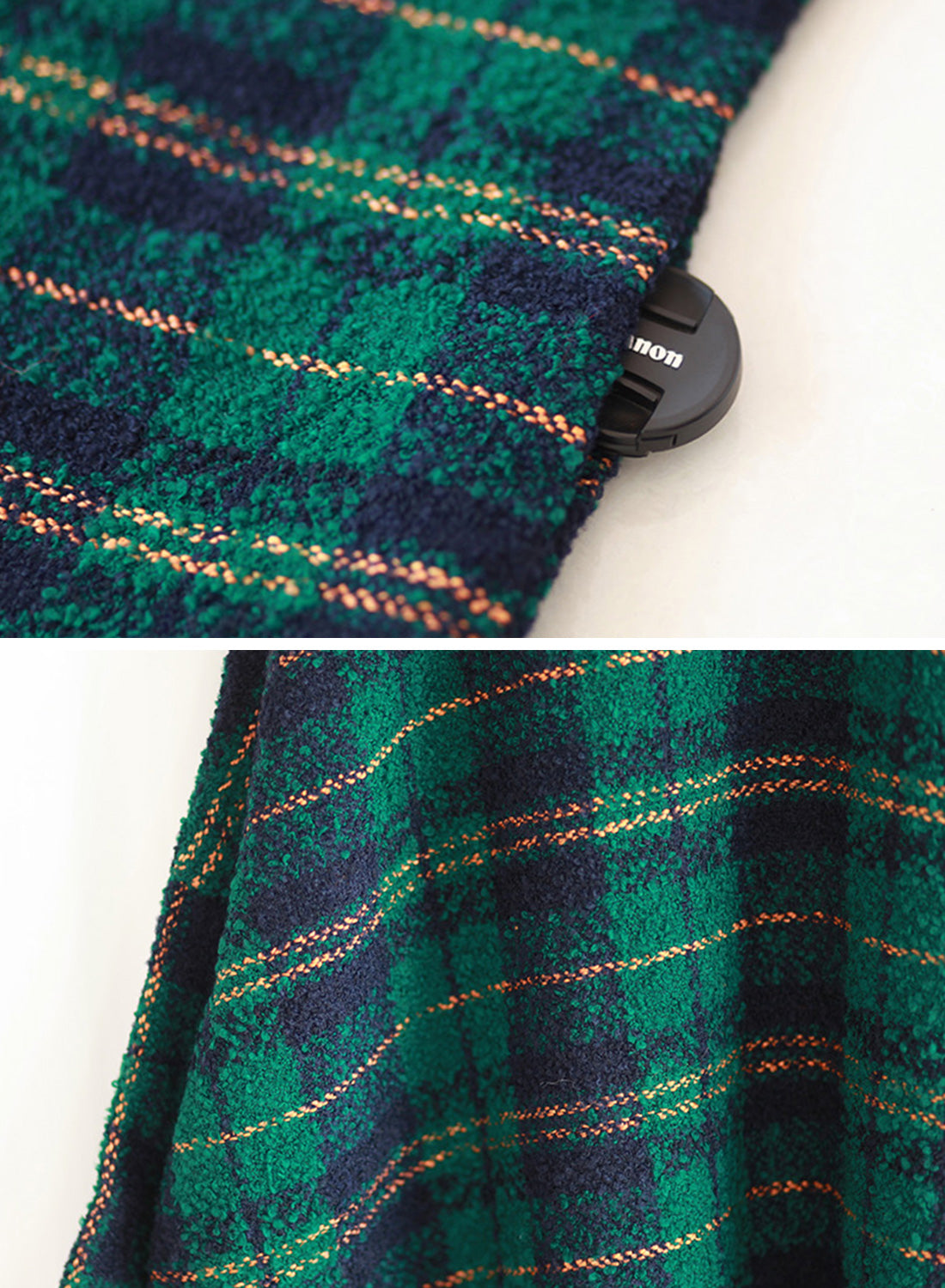 Plaid Print Plus-Sized Woolen Kaftan Dress Details 3