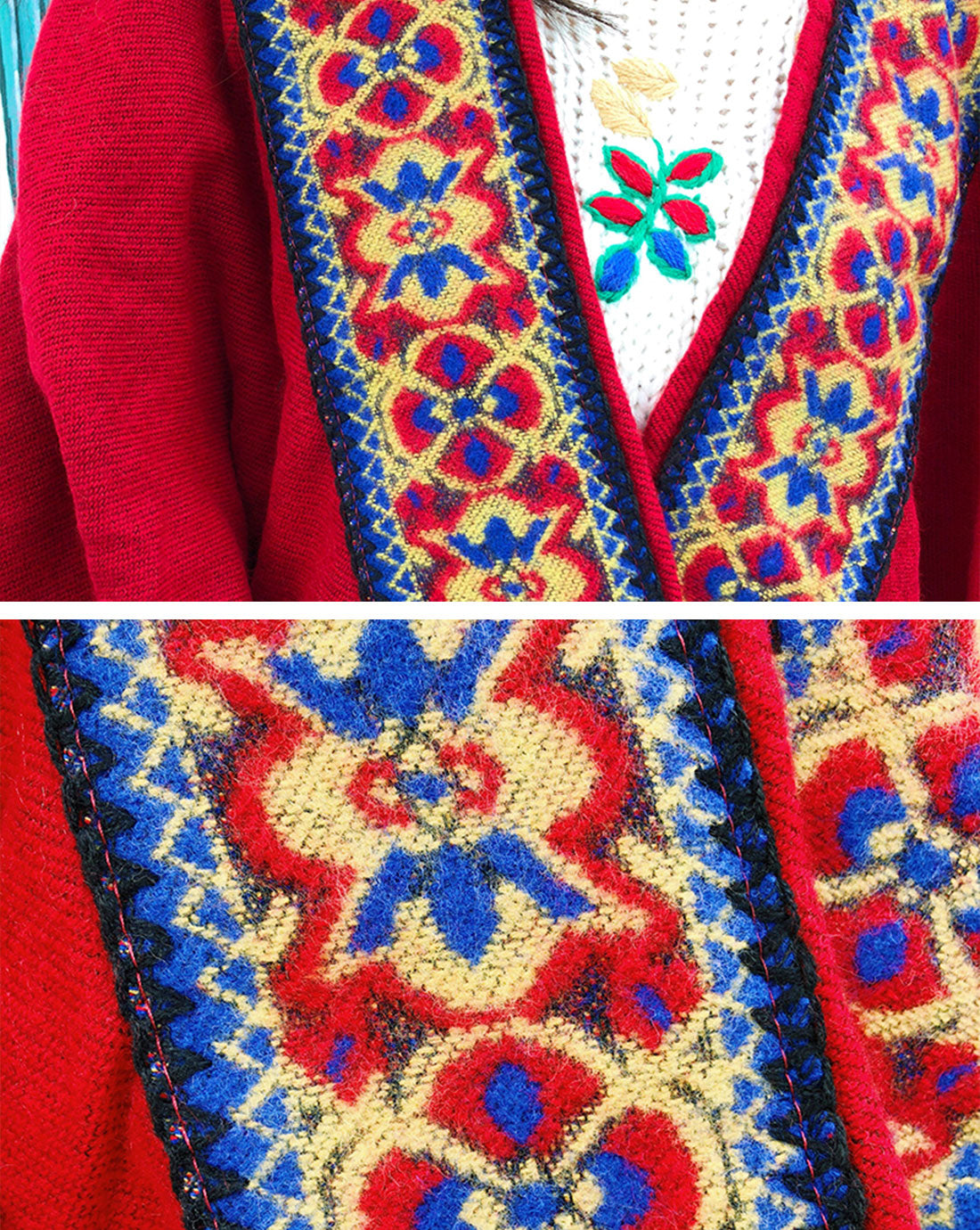 Splicing Red Shawl Cardigan with Hooded Details 3