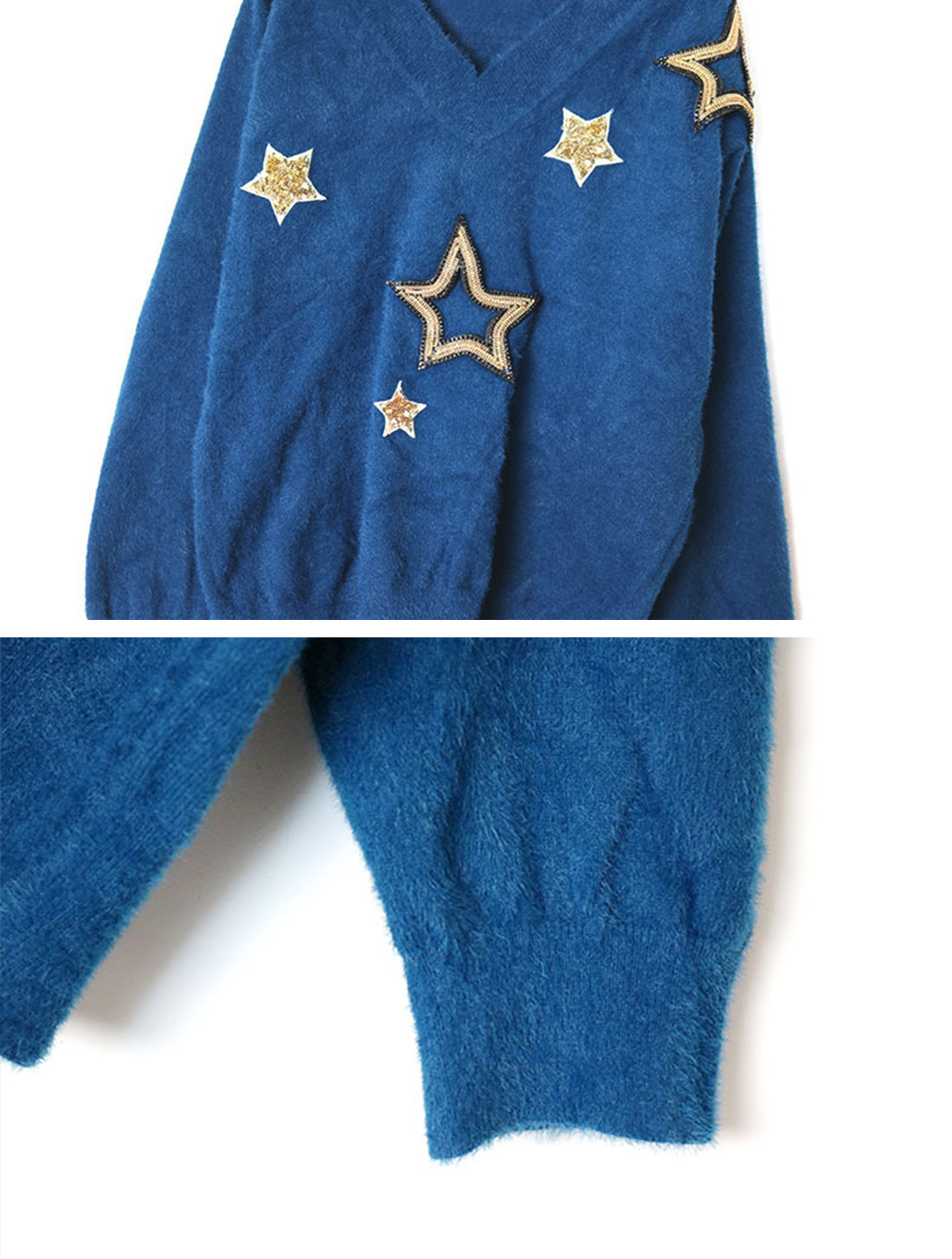 Obviously Edgy Star Embroidered Sweater Top Details 3