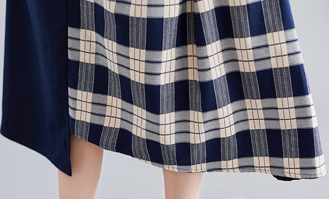 Be My Guest Plaid Border Cotton Midi Dress Details 3