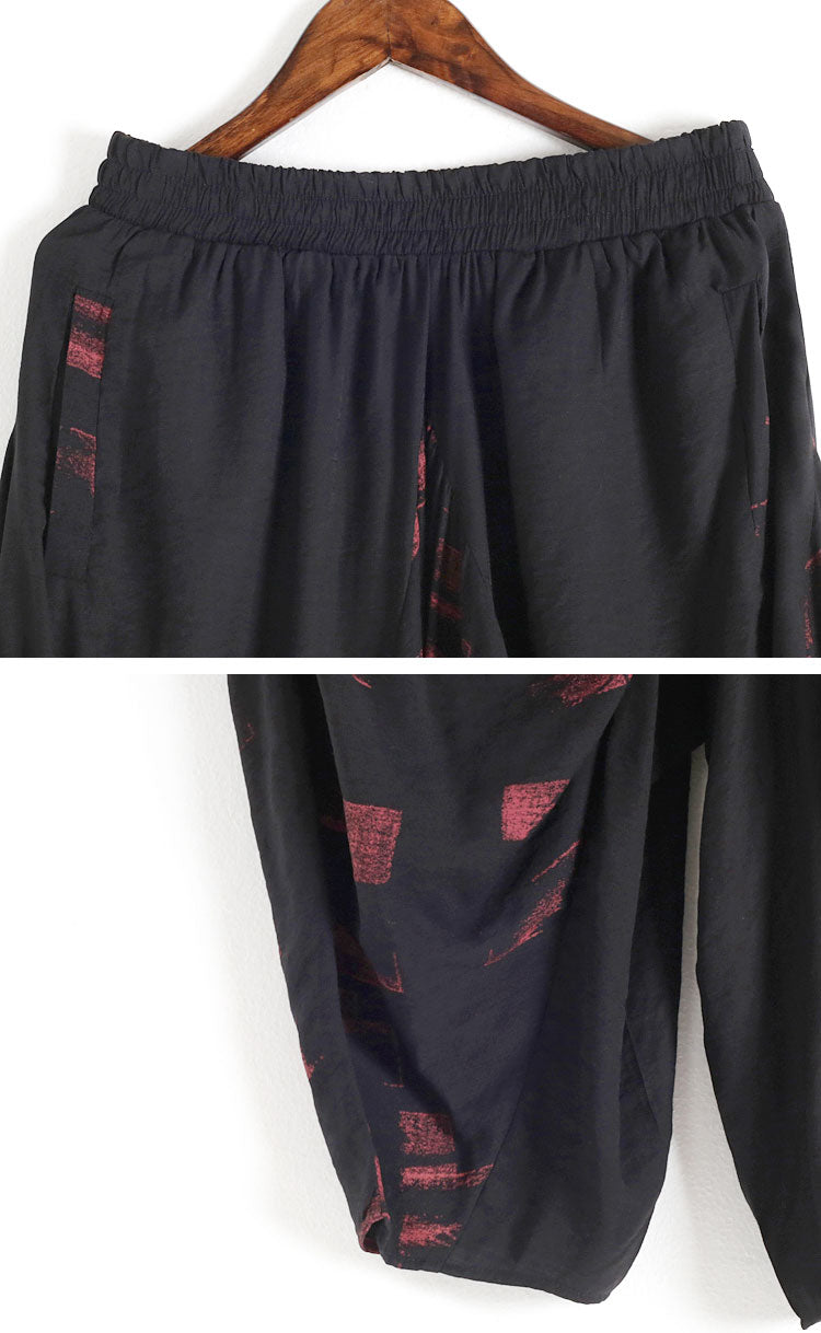 Abstract Printing Elastic Harem Pants Details 3