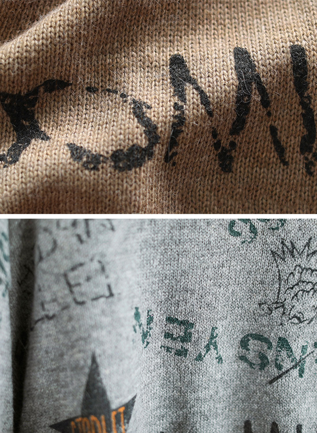 Star Words Printed Cotton Sweater Details 3