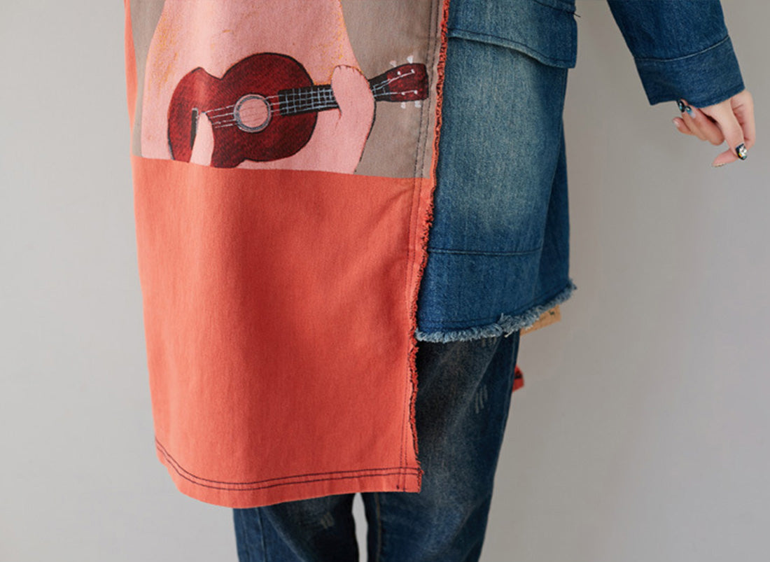 Guitar Learner Cat Hooded Sweatshirt Dress Details 3