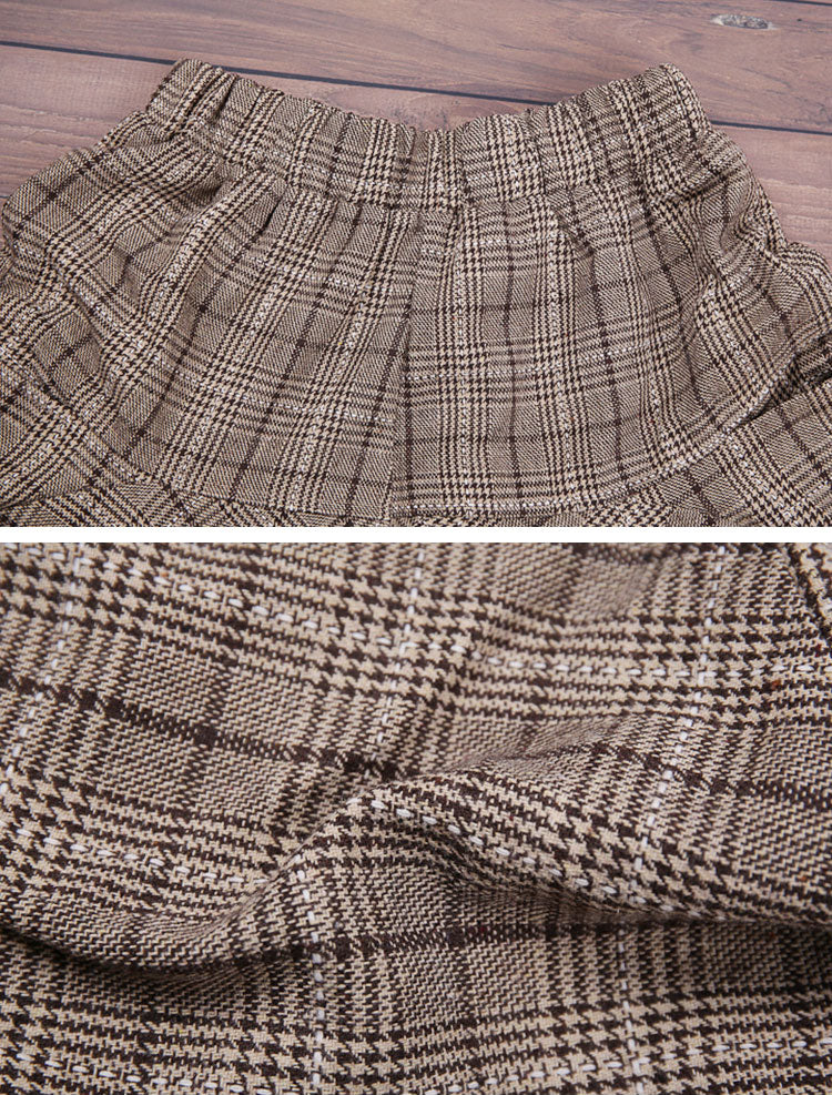 Splicing Plaids Cotton Harem Pants Details 3