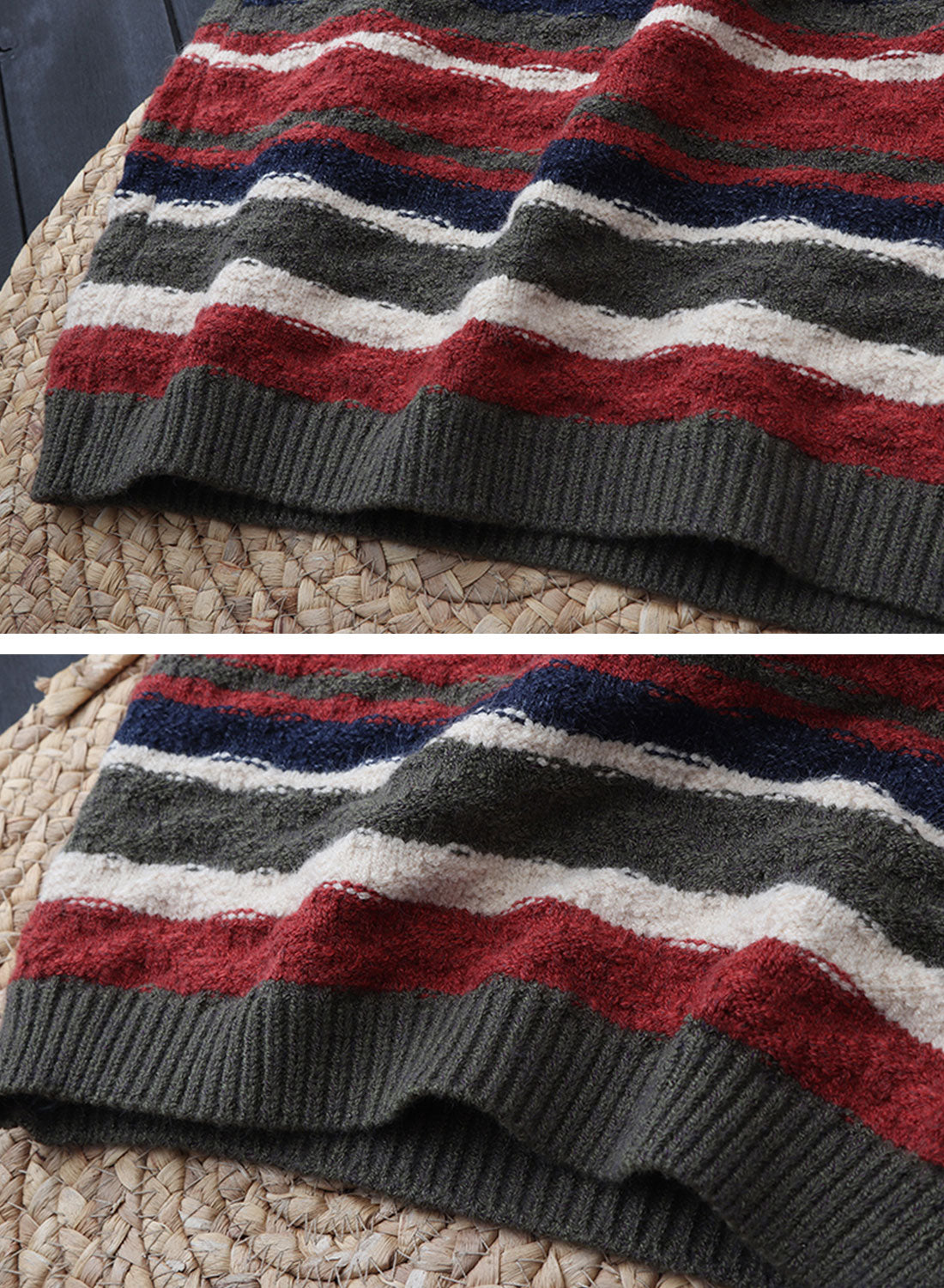 Color Block Striped Long Cardigan Sweater Details 3