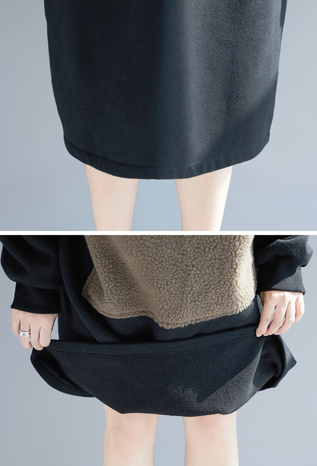 Lamb Cashmere & Cotton Hooded Sweatshirt Dress Details 3
