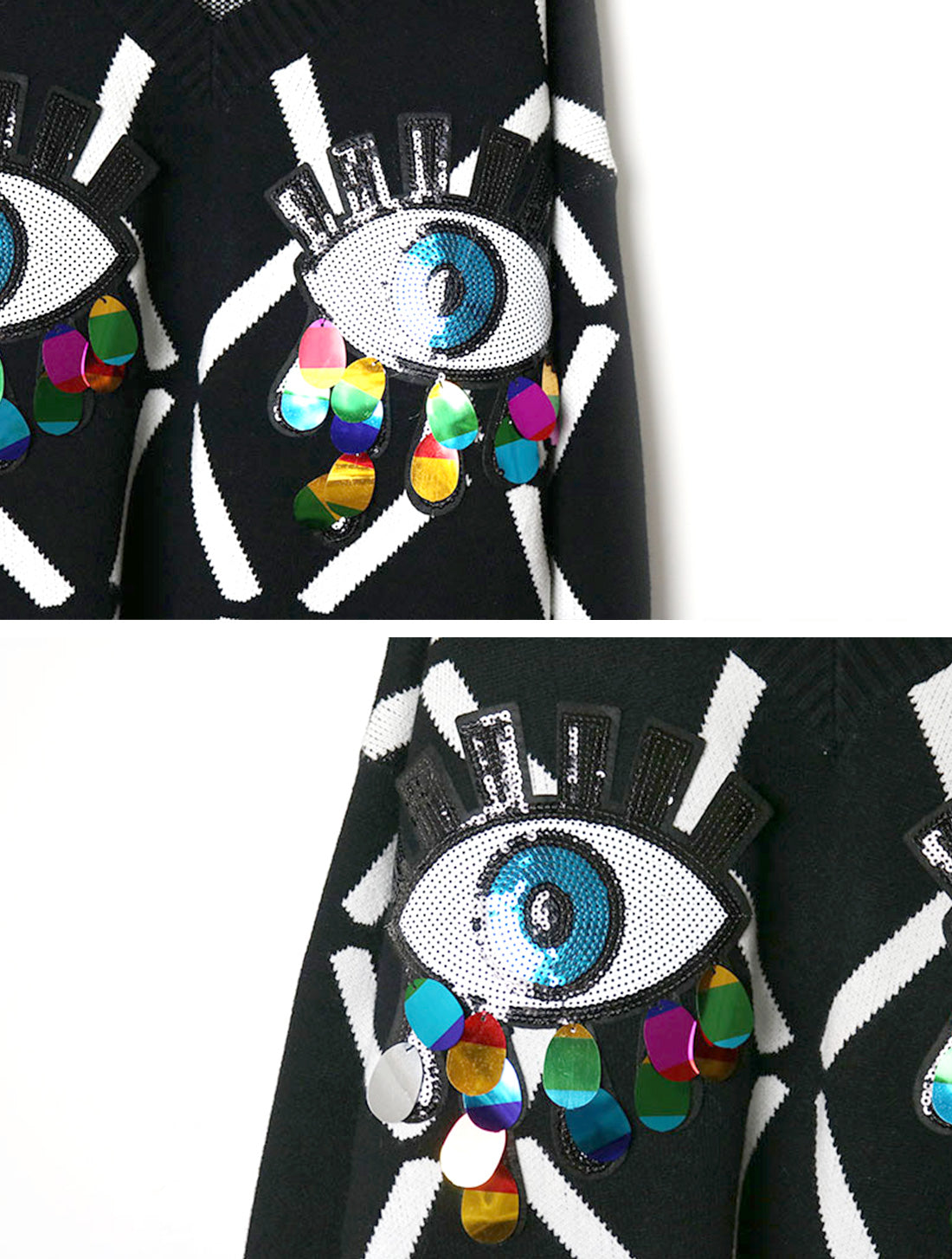 I can See You Black Sweater Top Details 3