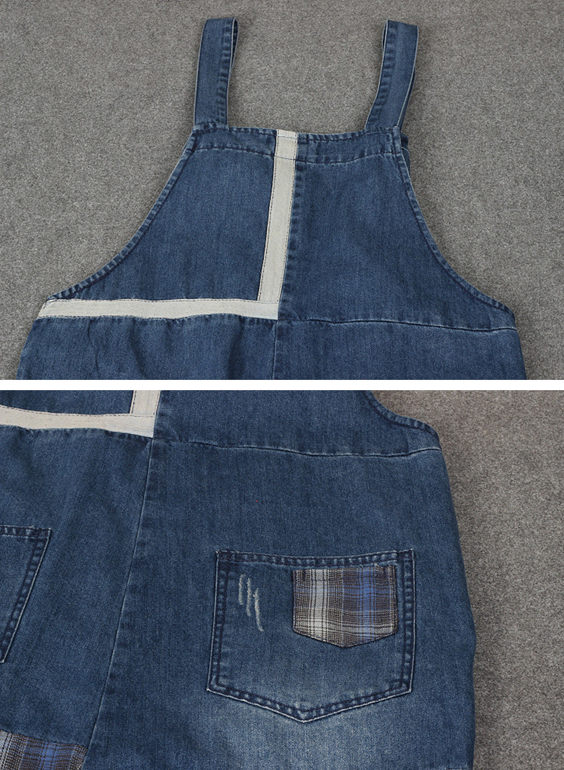 All the Feels Patched Denim Overalls Dungarees Details 3
