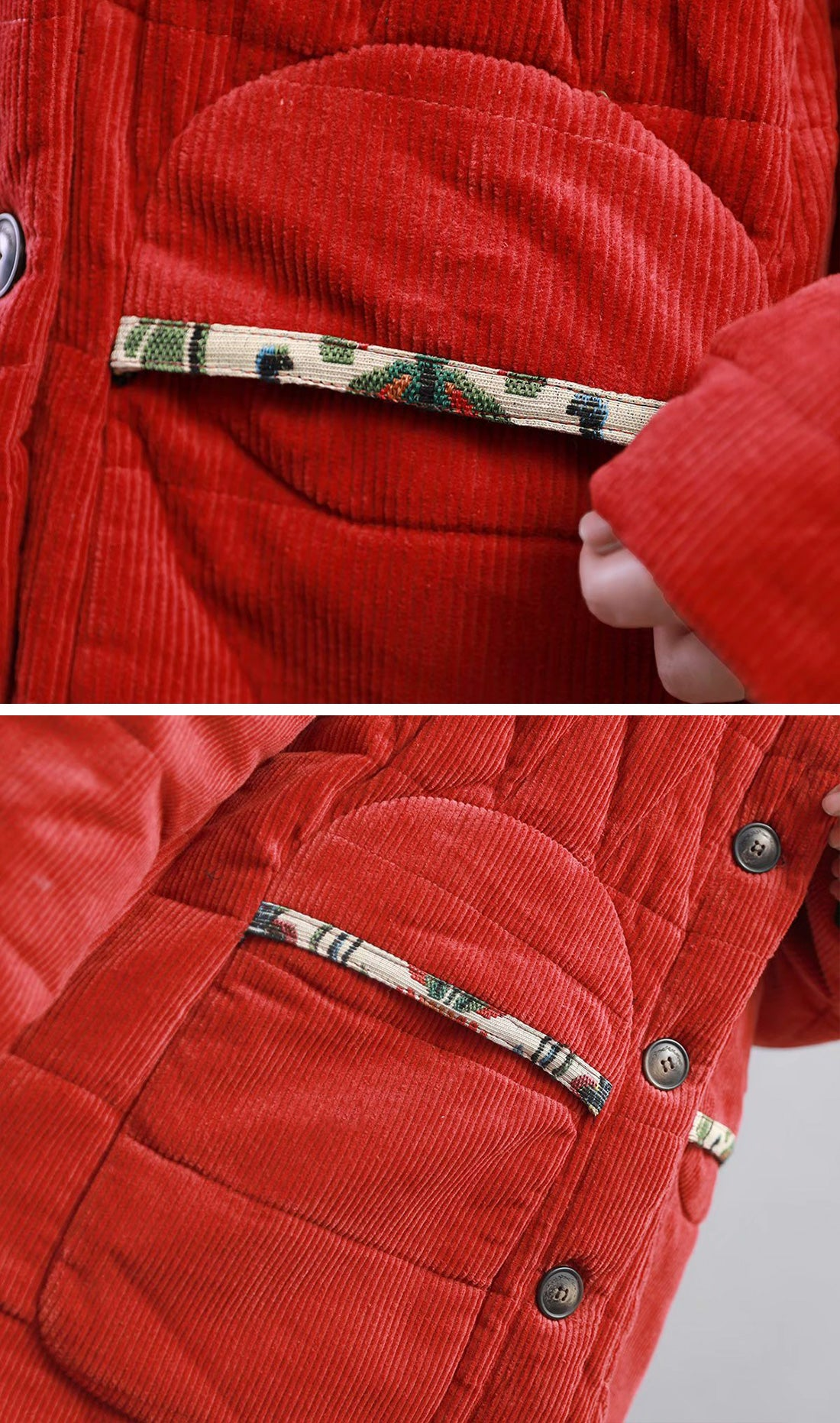 Bad At Love Padded Cotton & Curduroy Coat Details 3