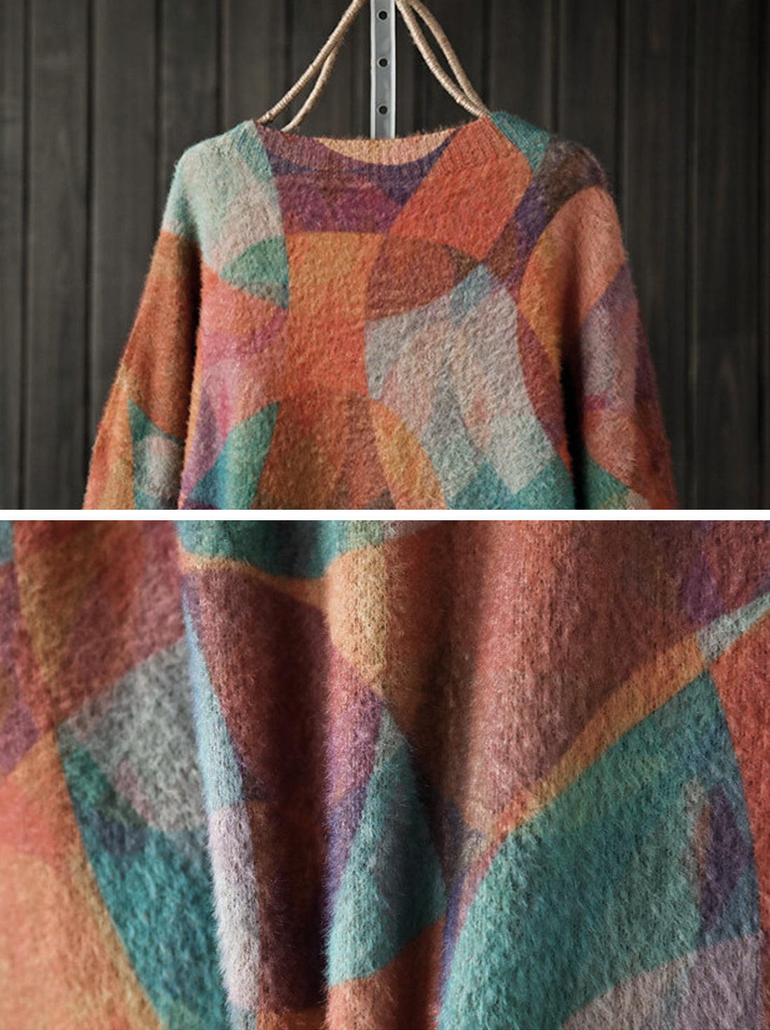 Mix-color Full Sleeve Sweater Details 3