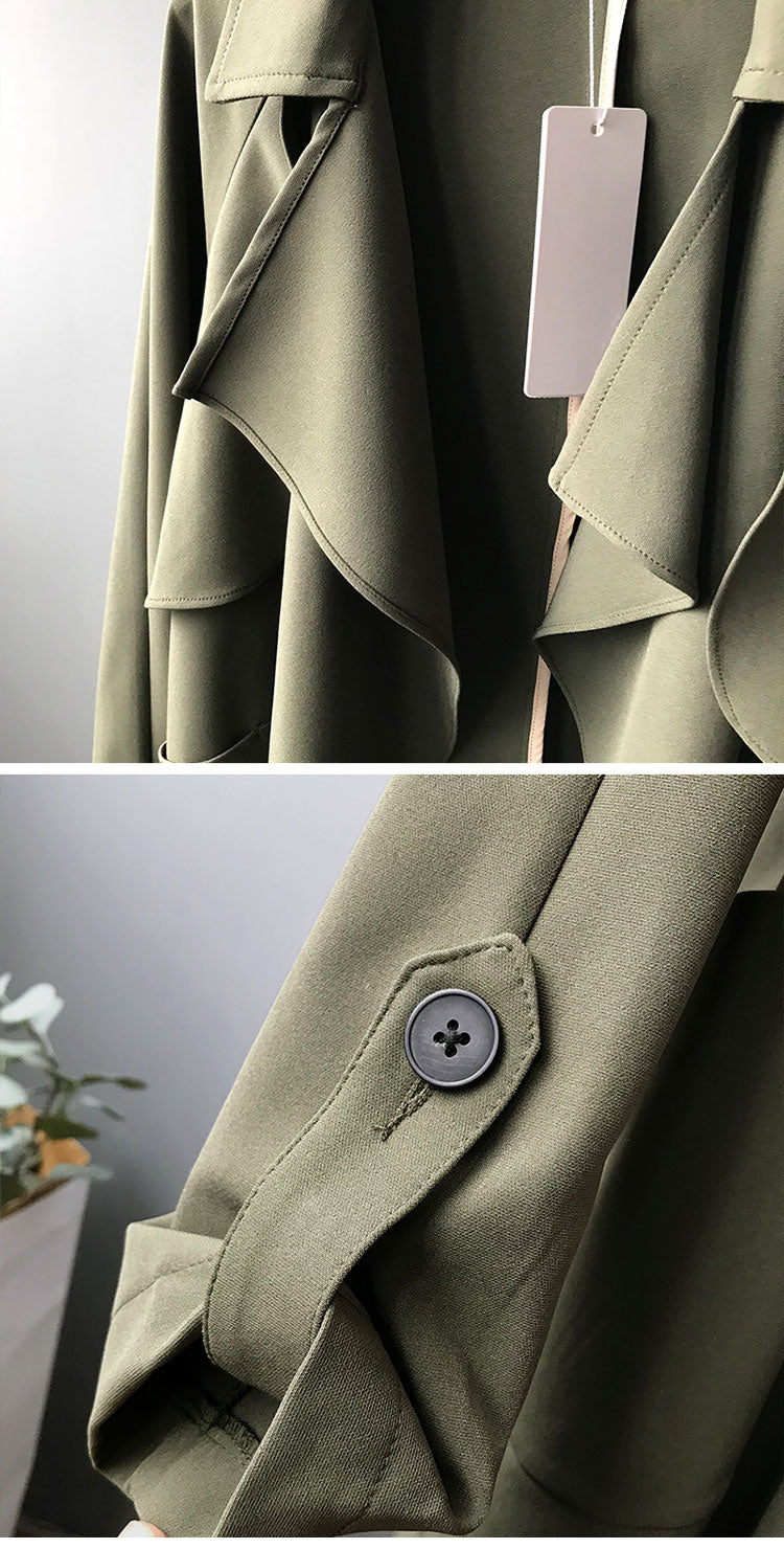 Along for the Ride Crepe Trench Coat Details 3