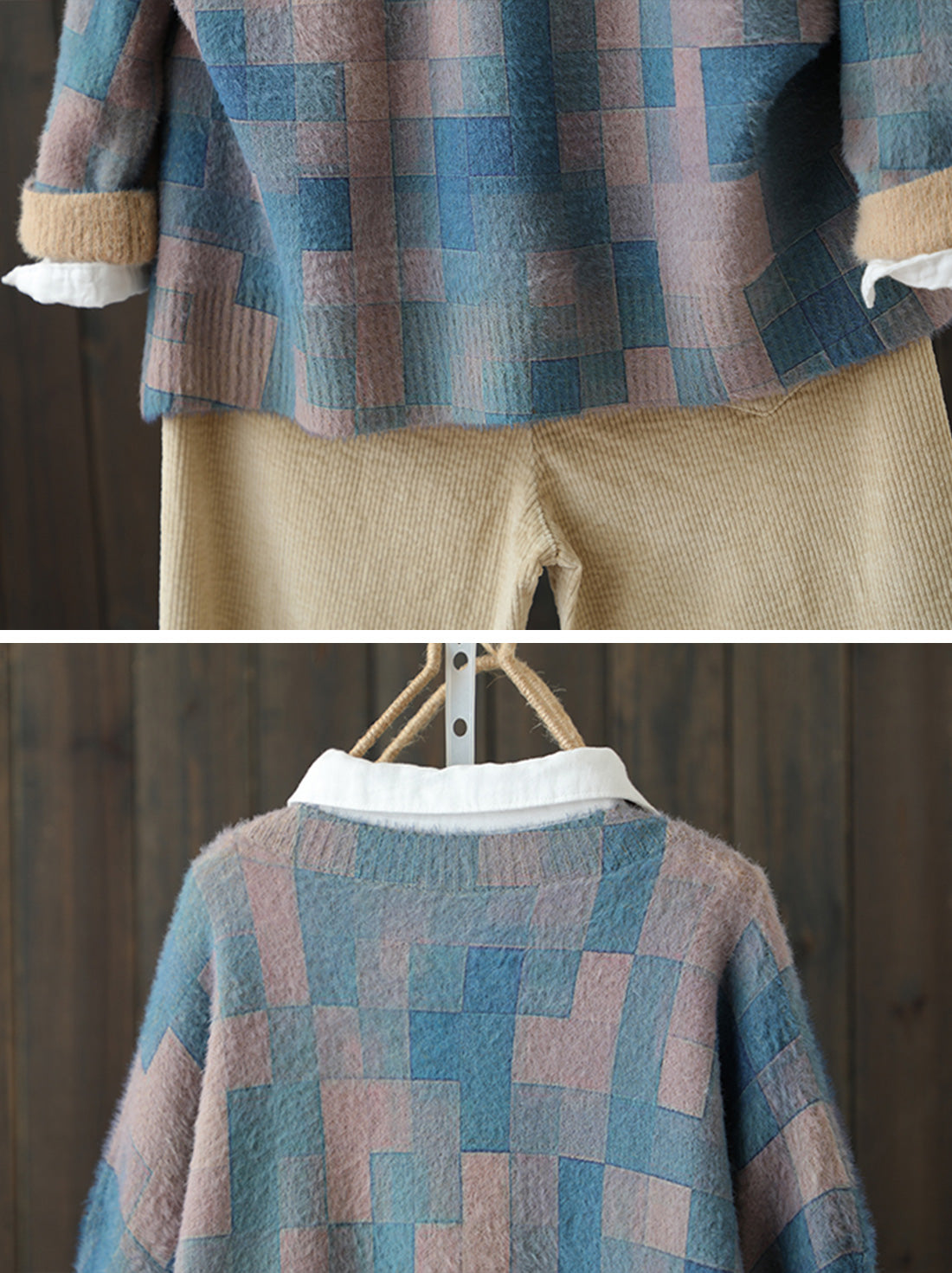 Color Block Lattice Cotton Sweater Details 3